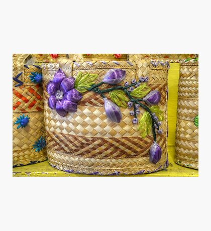 Old Fashion Handmade Straw Bag in The Bahamas Photographic Print