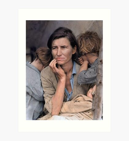 Colorized  - Migrant Mother by Dorothea Lange Art Print