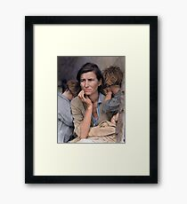 Colorized  - Migrant Mother by Dorothea Lange Framed Print