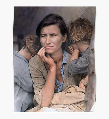 Colorized  - Migrant Mother by Dorothea Lange Poster