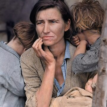 Colorized  - Migrant Mother by Dorothea Lange by SannaDullaway