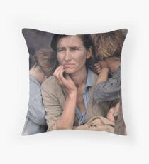 Colorized  - Migrant Mother by Dorothea Lange Throw Pillow