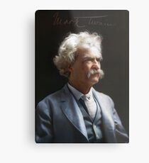 Colorized  - Mark Twain / Samuel L Clemens with signature Metal Print