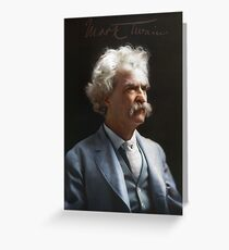 Colorized  - Mark Twain / Samuel L Clemens with signature Greeting Card