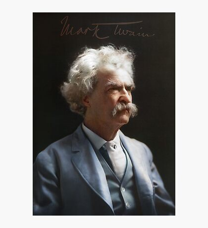 Colorized  - Mark Twain / Samuel L Clemens with signature Photographic Print