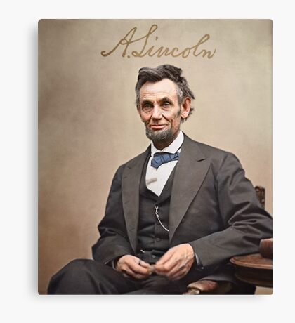 Colorized  - Abraham Lincoln with Signature Canvas Print