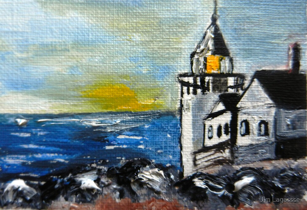 ACEO Original Oil Painting - Maine Lighthouse by Jim Lagassse