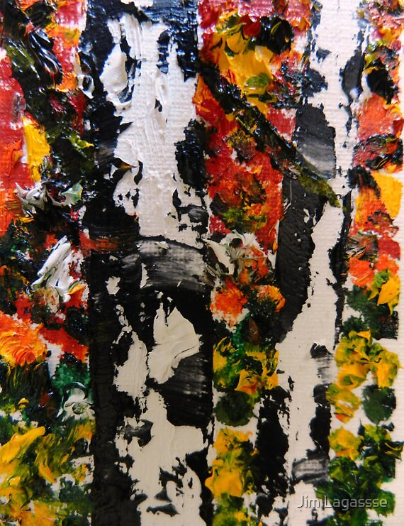 ACEO Original Oil Painting - Autumn Birch Trees by Jim Lagassse