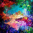 WILLKOMMEN BEI UTOPIA Bold Rainbow Multicolor abstrakte Malerei Wald Natur skurrilen Fantasy Fine Art von EbiEmporium