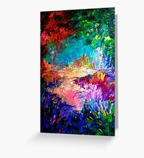 WELCOME TO UTOPIA Bold Rainbow Multicolor Abstract Painting Forest Nature Whimsical Fantasy Fine Art Greeting Card