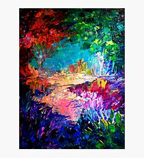 WELCOME TO UTOPIA Bold Rainbow Multicolor Abstract Painting Forest Nature Whimsical Fantasy Fine Art Photographic Print