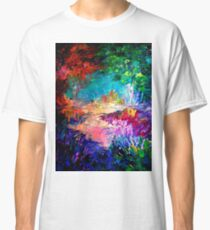 WELCOME TO UTOPIA Bold Rainbow Multicolor Abstract Painting Forest Nature Whimsical Fantasy Fine Art Classic T-Shirt