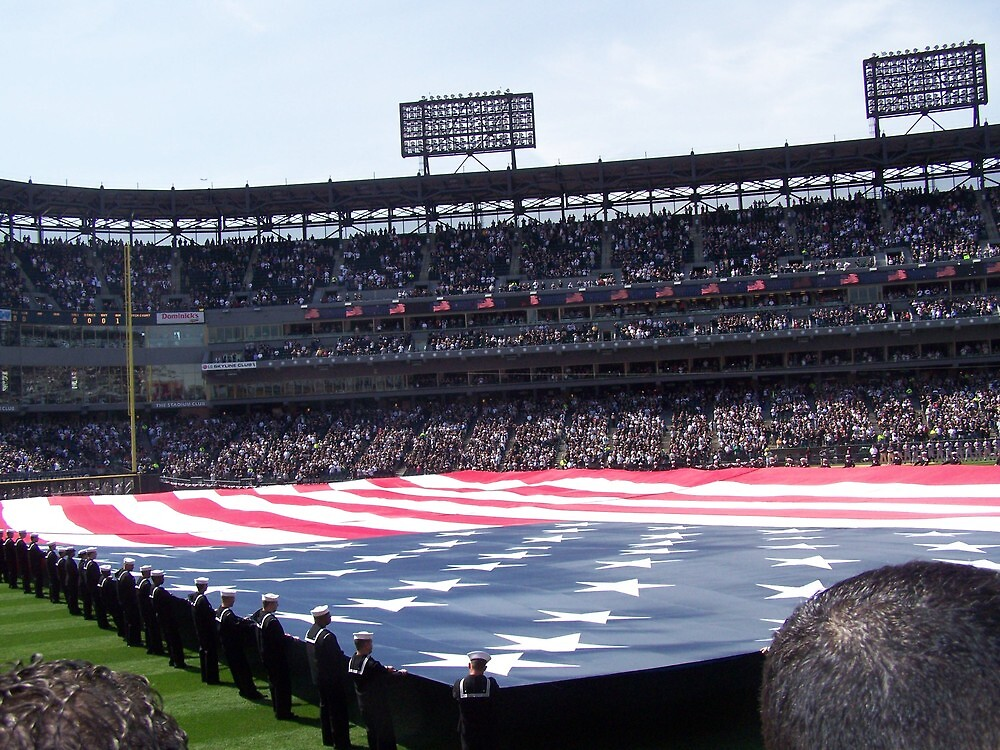 American flag at U S Cellular field by akk96