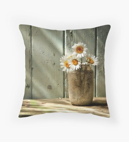 A Jar of Daisies Throw Pillow