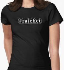 Ratchet - Hashtag - Black & White Womens Fitted T-Shirt