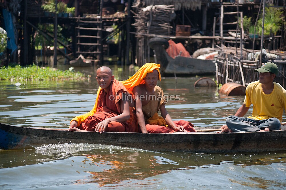 Monks on the water by obliqueimages