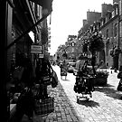 Black and White Street in Fourges with Shops by JoeJoeT