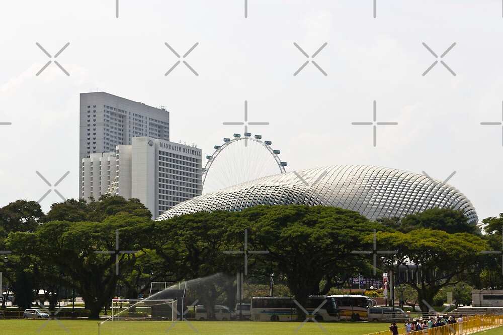 View of Singapore Flyer and Mandarin Oriental hotel and the Esplanade Building in Singapore. by ashishagarwal74