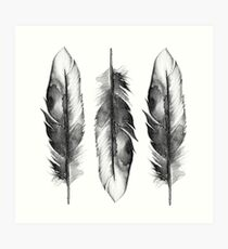 Silver Feathers Watercolor Art Print