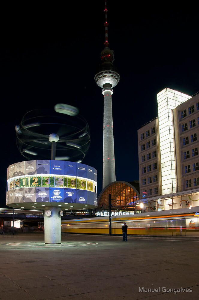 Alexanderplatz at Night by Manuel Gonçalves