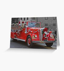 Santa on a Fire Truck Greeting Card