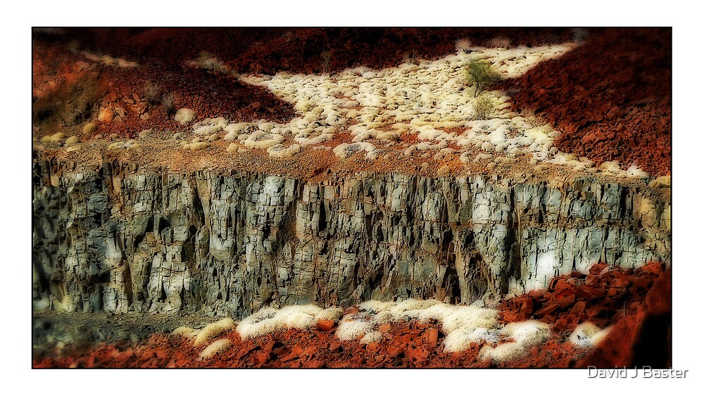 Rock Face and Desert Grass by David J Baster