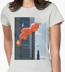 Flying Bear Watches Over City of Milwaukee Women's Fitted T-Shirt