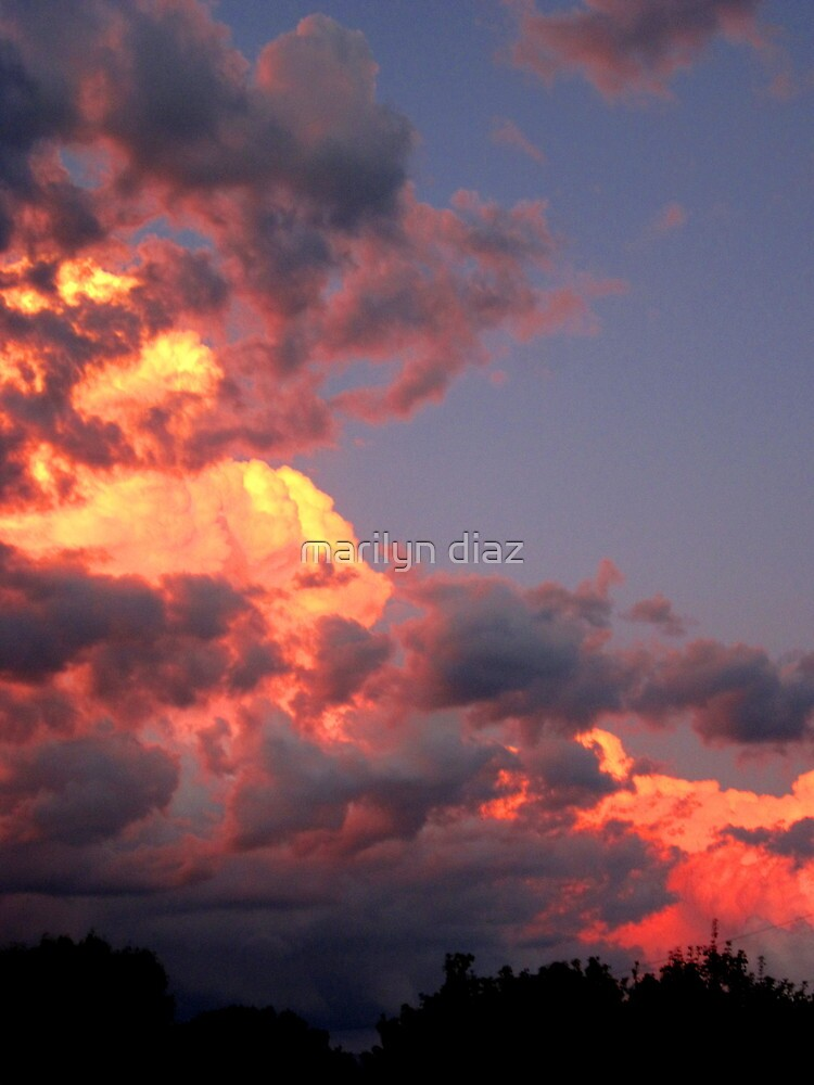 Sunset And Thunder Clouds by marilyn diaz