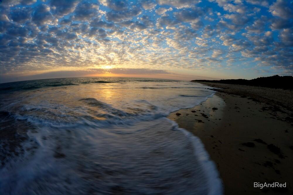 foam wash on beach by BigAndRed