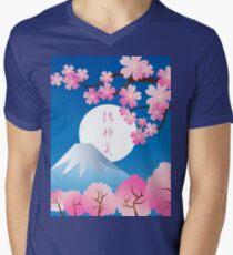 Mt Fuji Cherry Blossoms Spring Japan Night Sakura Men's V-Neck T-Shirt