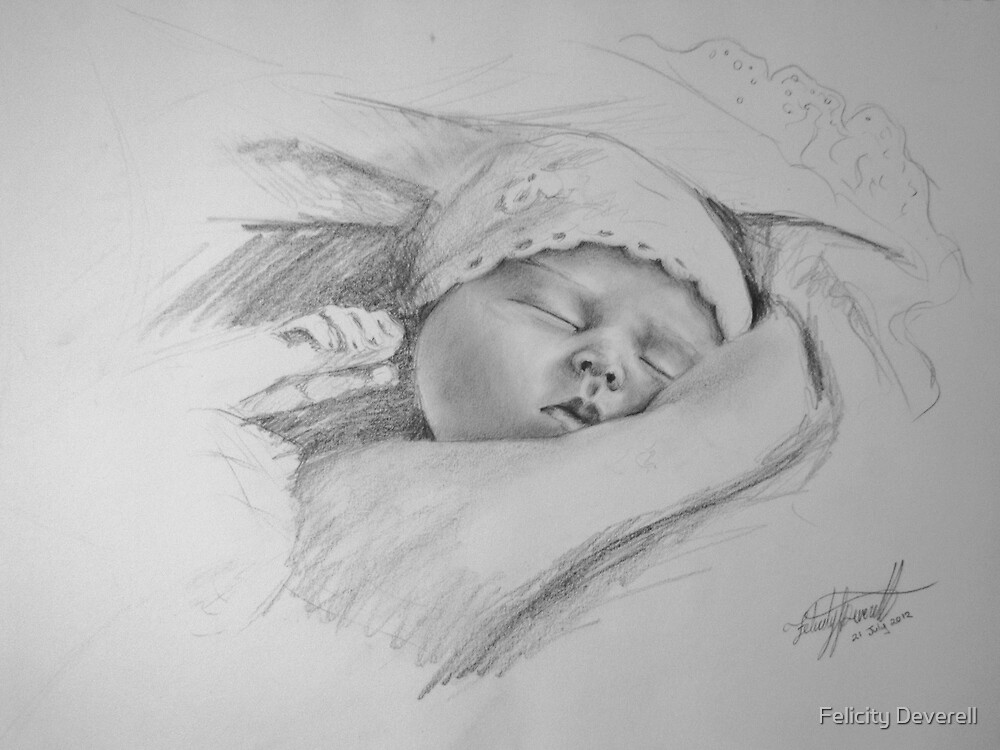 Quot Baby Drawing Quot By Felicity Deverell Redbubble