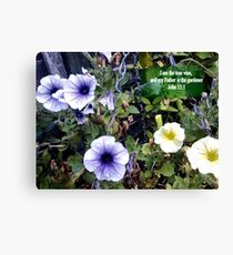Clematis in basket. MESSAGE OF THE CREATOR. TEXT/BESPOKE Canvas Print