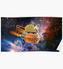 Taco Cat In Space Poster