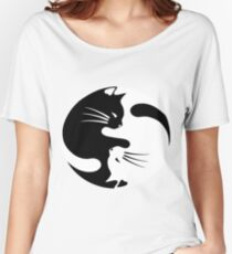 Ying yang cat (white) Women's Relaxed Fit T-Shirt