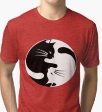Ying yang cat (white) Tri-blend T-Shirt