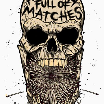 A Mouth Full Of Matches - Skull & Matches Shirt (WHITE)  by AMFOM