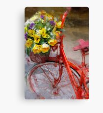 Red bicycle with flowers Canvas Print