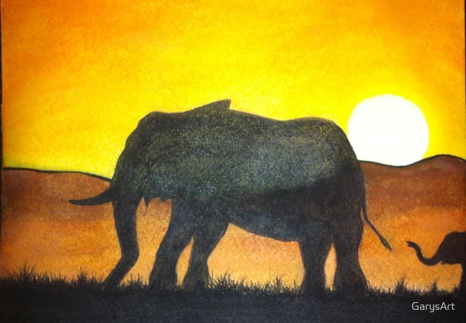 """""""Elephant Stroll"""" by Gary Goza by GarysArt"""