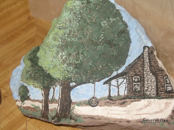"""At the Cabin"" Hand Painted Rock by Gary Goza by GarysArt"