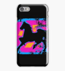 Colorful Prancing High-stepping Horse Silhouette iPhone Case/Skin