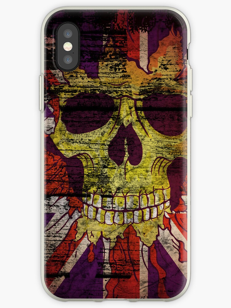 Union Jack Patriotic Skull On Gunge Wall Flag iPhone 5 Case / iPhone 4 Case  / Samsung Galaxy Cases  by CroDesign
