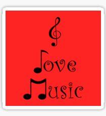 I Love Music - Retro Red Sticker