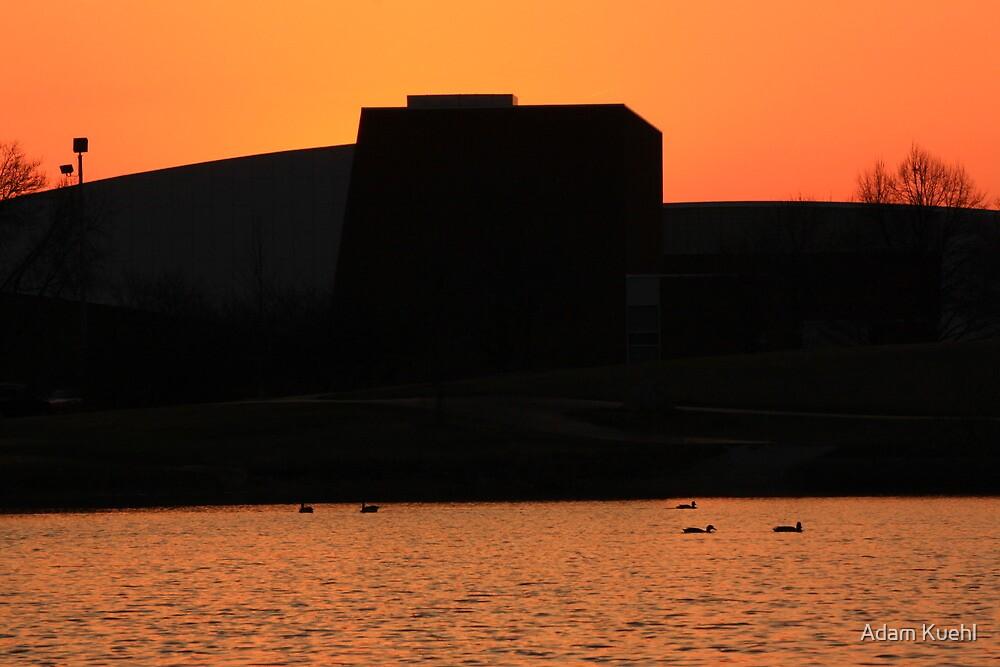 Sunset behind Lisle Senior High by Adam Kuehl