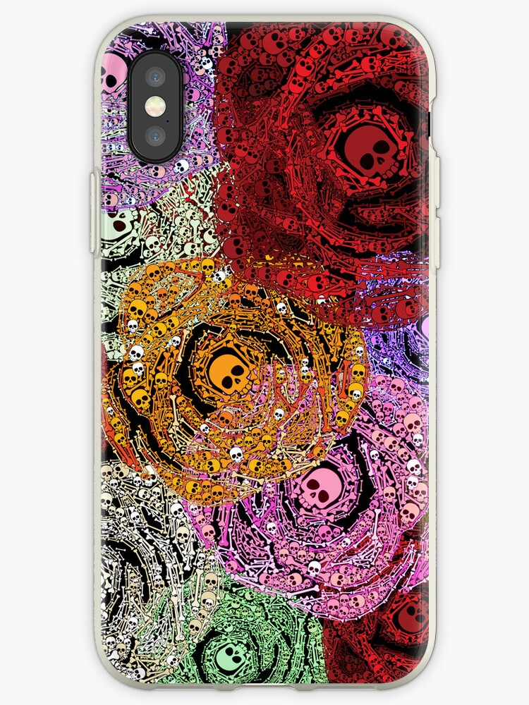 Skulls & Bones Colorful Flowers Roses Bouquet iPod / iPhone 4 / iPhone 5  Case / Samsung Galaxy Cases  by CroDesign