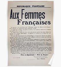 Aux femmes françaises La guerre a été déchaînée par lAllemagne malgré les efforts de la France de la Russie de lAngleterre pour maintenir la paix Poster