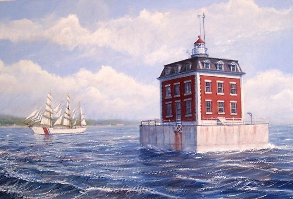 Ledge Lighthouse, Thames River, New London, CT by William H. RaVell III