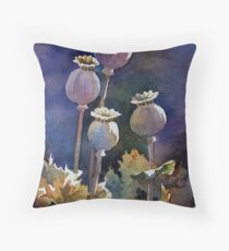 Poppy Seed Heads Throw Pillow