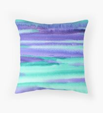 Watercolor Hand Painted Purple Turquoise Abstract Background Throw Pillow