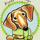 Smooth Red Dachshund Happy Howlidays by offleashart