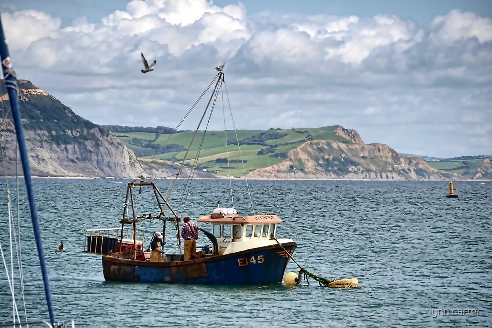 Small Fishing Boat By Lyme Harbour , Dorset. UK by lynn carter